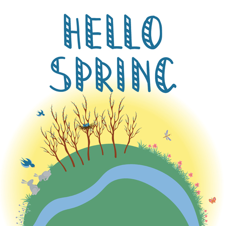 Earth Concept flat vector illustration, Hello Spring hand writing phrase on a white background.