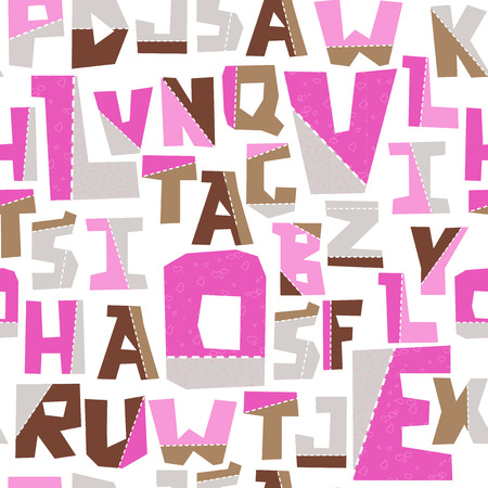 Hand lubberly cut vector lobe pink applique alphabet seamless pattern. Good for school projects, posters, textiles.