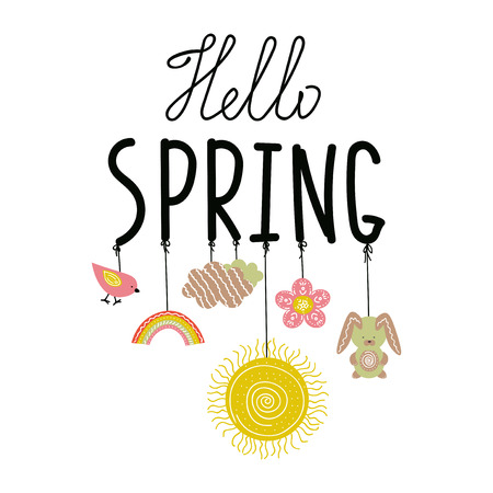Hello Spring handwritting phrase with ropes and doodle spring symbols on it