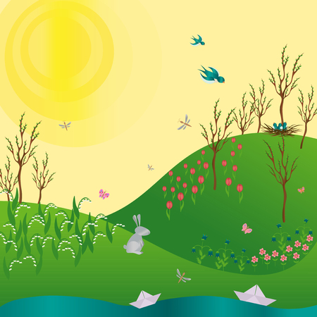 Spring green gradient landscape with flowers rabbit and stream. Illustration