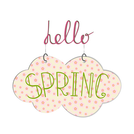 Hello Spring handwritting phrase with hanging cloud