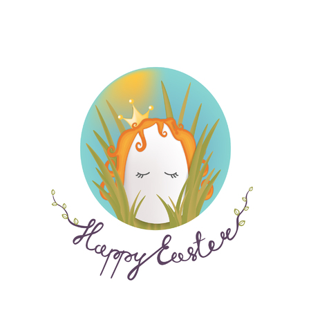 Sweet easter egg princess in the grass and oval sky. Happy Easter lettering phrase Vector gift card.
