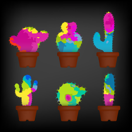 Colorful cactuses in a pots set. Colorful concept vector illustration