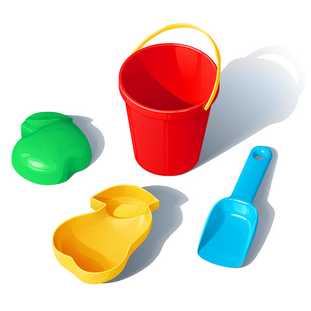 set of toys for a kids sandbox - a plastic bucket, a scoop and molds for sand in the form of an apple and a pear Illustration