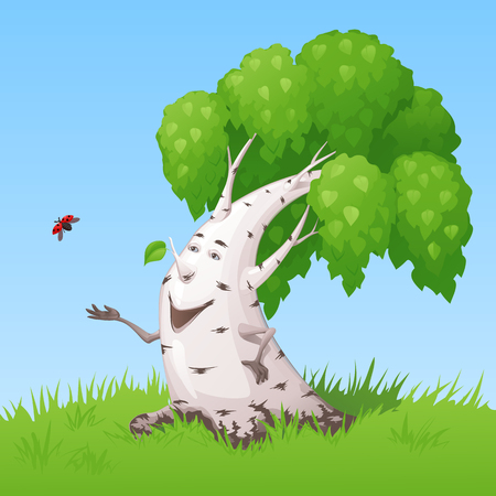 ladybug: Thick smiling birch with hands and eyes letting out a ladybug into the sky