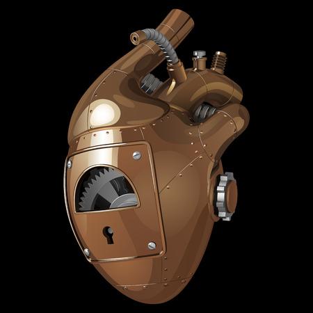 Mechanisches dekoratives menschliches Herz gemacht vom gelben und weißen Metall, mit Gängen und Nieten, auf einem schwarzen Hintergrund