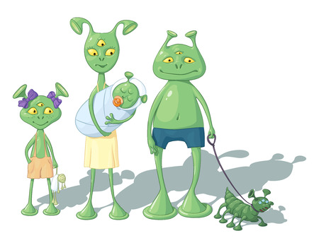A family of green cartoon humanoids - a mother, a father, a daughter, a baby and a doggie, stand nearby with each other, on a white background Ilustracja