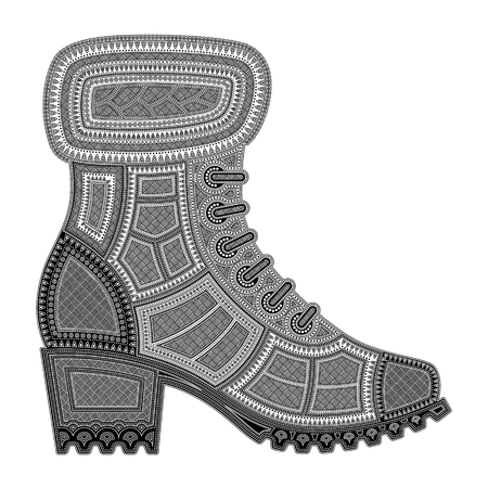 black and white silhouette of a female shoe on a corrugated sole with a small heel, with patterns on a white background