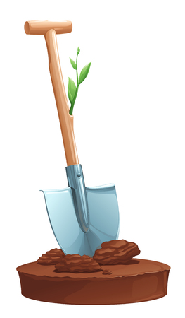 sprouted green shoots with a shovel stuck in the ground, on a white background