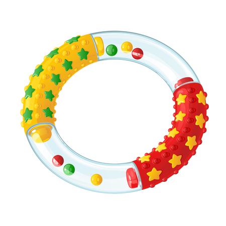 Colorful bright baby rattle - teether teeth, in the form of rings with protruding stars, pimples and balls Illustration