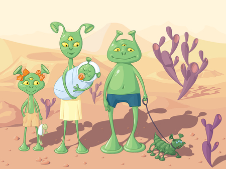 Family of green humanoids - and father, and mother, and daughter and a baby, with a doggie, on the background of an alien landscape