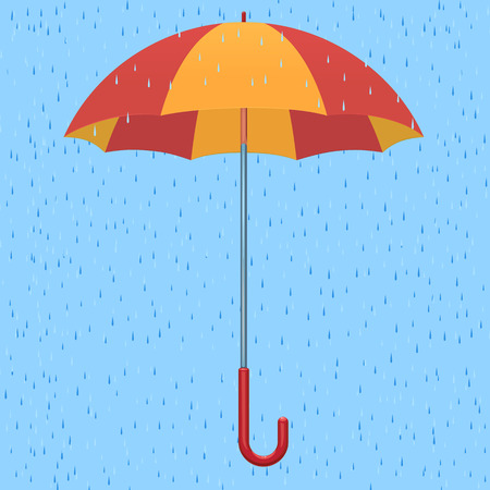 Red-yellow umbrella against the background of a rain