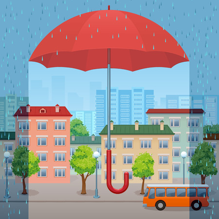 The huge red umbrella protects the city from a rain Illustration