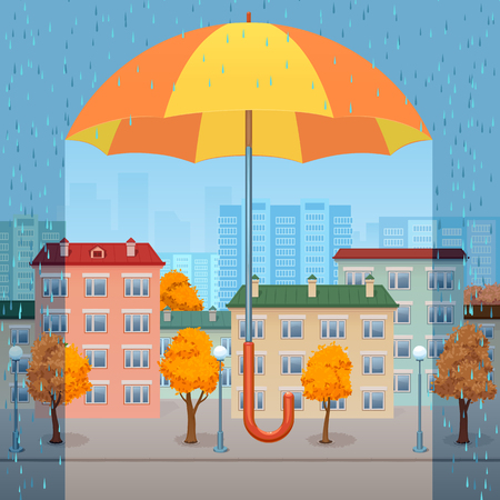 The huge yellow-orange umbrella protects the autumn city from a rain Illustration