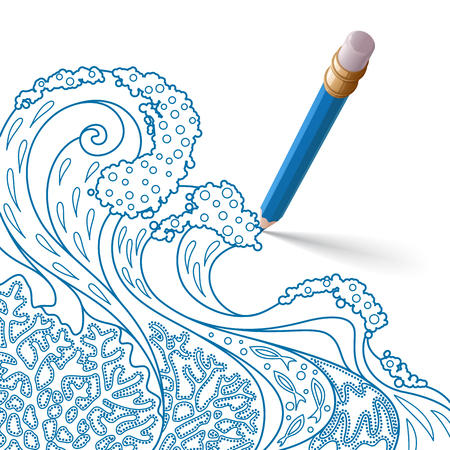 The bright six-sided blue pencil with eraser, casting a shadow on a white background, draws a pattern from red lines