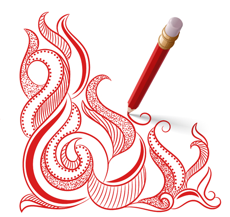 The bright six-sided red pencil with eraser, casting a shadow on a white background, draws a pattern from red lines