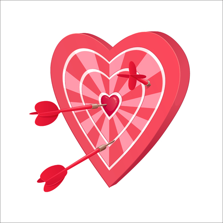 Pink target for darts in the form of heart, with several darts thrust in it. One of the darts has hit the mark.