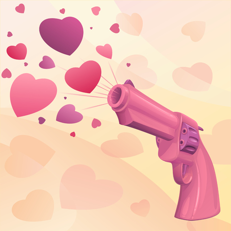 Glamourous glossy pink revolver icon with heart design. Illustration