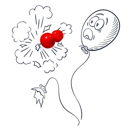 Red thumbtack pierce the hand-drawn balloon. The balloon burst. The second balloon is scared.