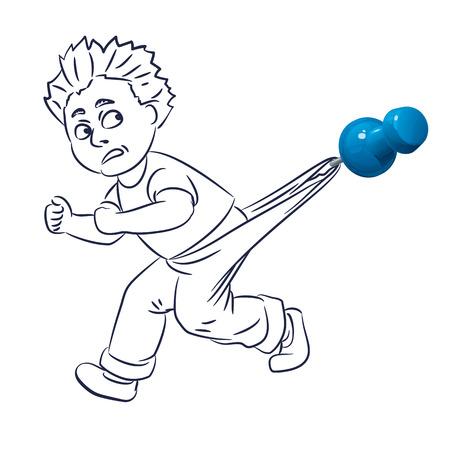La personne dessinée à la main est accrochée par un pantalon pour une punaise bleue