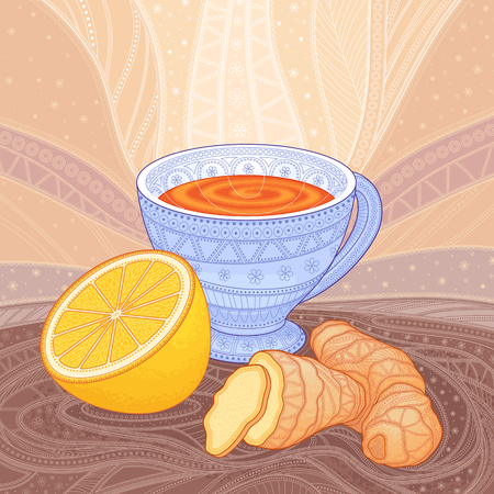 A cup of tea with ginger and lemon, decorative drawing with patterns
