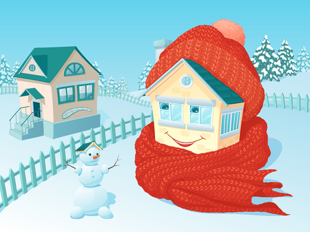 The small one-storey lodge in winter rural areas that is wrapped up in a warm knitted scarf and a cap smiles Illustration
