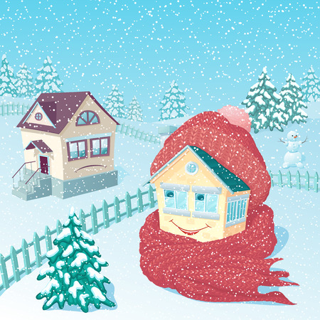 The small one-storey lodge in winter rural areas with snowfall, wrapped up in a warm knitted scarf and a cap smiles.