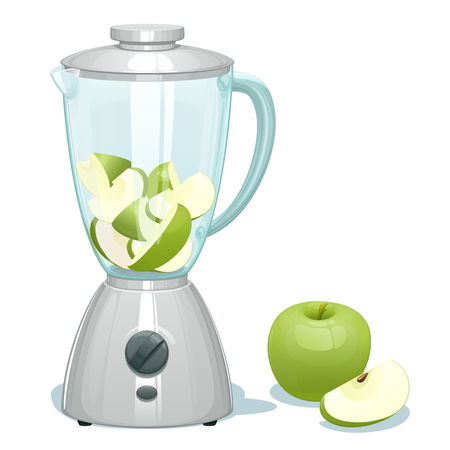 Fresh green cut apples in a glass bowl of the blender