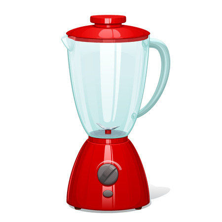 The red blender with a glass bowl