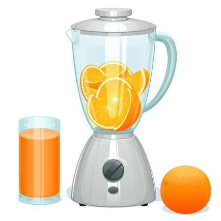 Fresh cut ripe oranges in a glass bowl of the blender.