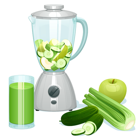 The fresh cut green apples, cucumbers and celery in a glass bowl of the blender. The whole apple, cucumbers and a bunch of celery.