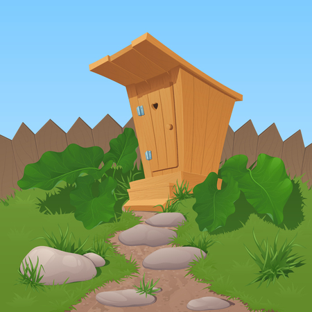 Old wooden rural toilet from boards with the closed door. A canopy and steps, stands near a fence. Burdock and a grass grow at a row. To the toilet the twisting stony footpath conducts. Illustration