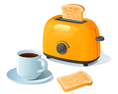 Orange electric toaster with a slice of toasted bread, standing next to a coffee cup on a saucer and is toast