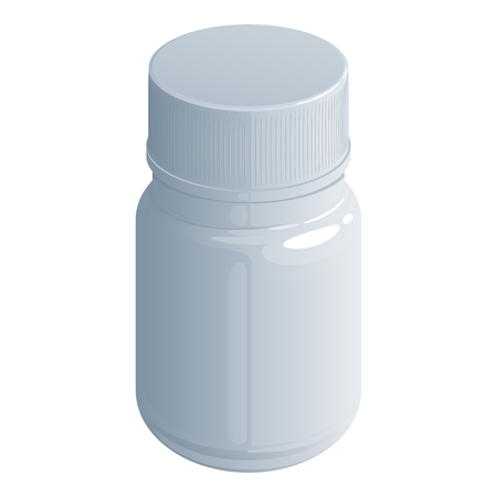 White plastic jar for drugs, food supplements or vitamins with a screw cap on a white background Фото со стока - 91192303