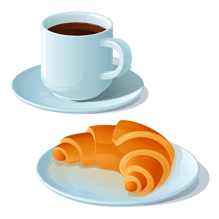 Cup of strong black coffee and croissant on a white porcelain saucer, on a white background