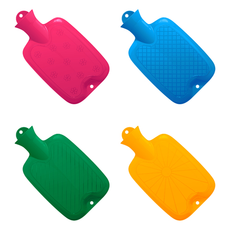 Set of multi-colored medical hot-water bottles with various corrugated drawing on a surface filled with water on a white background