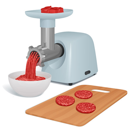 electric meat grinder with a tray for meat and a metal pipe twisters for cutlets, a plate with ready forcemeat and a cutting board with cutlets nearby. Иллюстрация