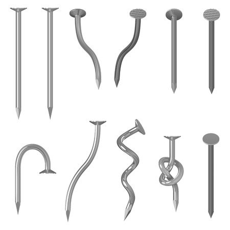 steel galvanized nails with notches on hats, straight, bent and knotted on a white background