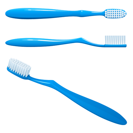 blue plastic toothbrush, the top view, sideways and in the long term, on a white background