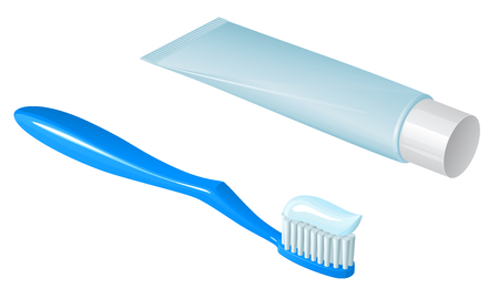Blue plastic toothbrush with toothpaste and tube of toothpaste with white cap, lying side by side, on a white background