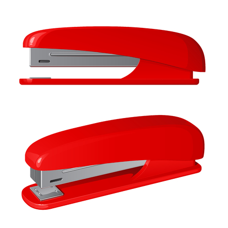 Red plastic stapler on a white background.