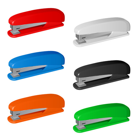 Stapler, red, gray, black, orange, green, blue, tool, office, stationery, attach, device, paper, staples, plastic, metal, vector, illustration, white background.