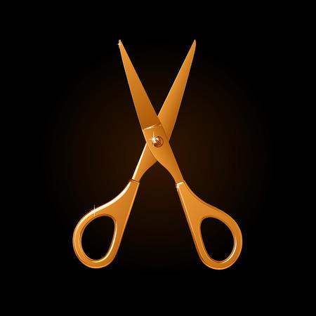 Golden scissors icon. Vettoriali