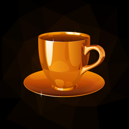 Golden cup and saucer on a black background with back light. Çizim