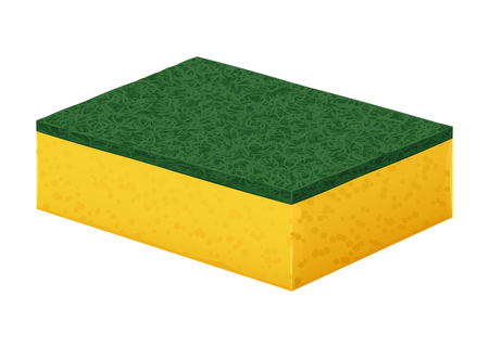 Yellow foam rubber sponge to wash with a hard green cleaning coating.