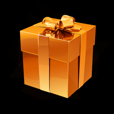 Gold box with a gift on a black background with light and glare.
