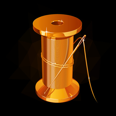 Golden reel of a thread with a needle.