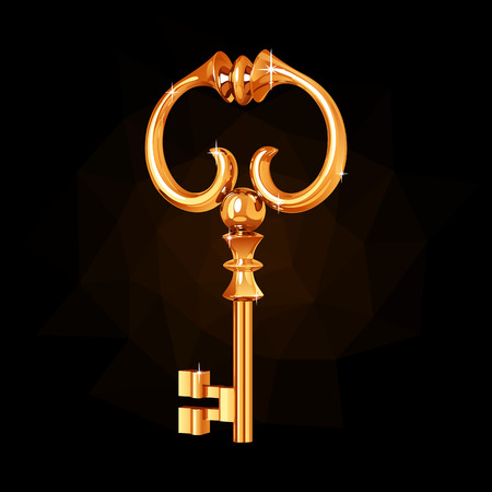 Gold vintage key decorated with curlicues. Illustration