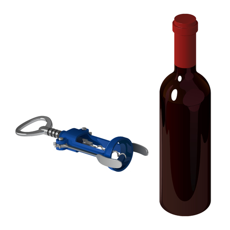 Blue mechanical corkscrew for opening wine bottles and closed bottle.