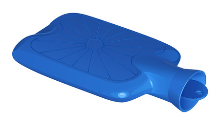 Blue rubber medical hot water bottle on a white background.